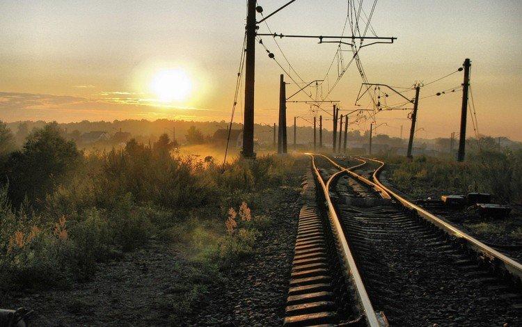 солнце, железная дорога, провода, туман, дома, пути, the sun, railroad, wire, fog, home, the way