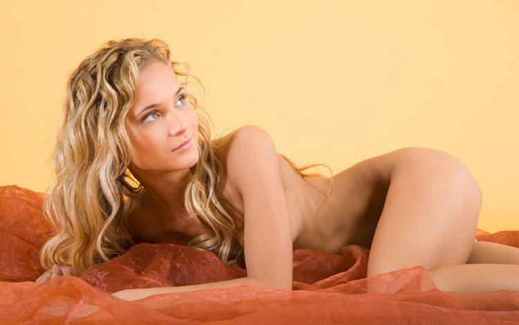 девушка, блондинка, лежит, кровать, girl, blonde, lies, bed