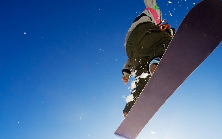 the sky, wallpaper, winter, background, guy, jump, adrenaline, snowboard, picture, sport, extreme