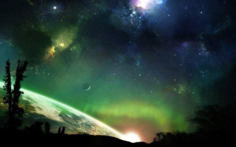 stars, planet, the universe, aurora borealis