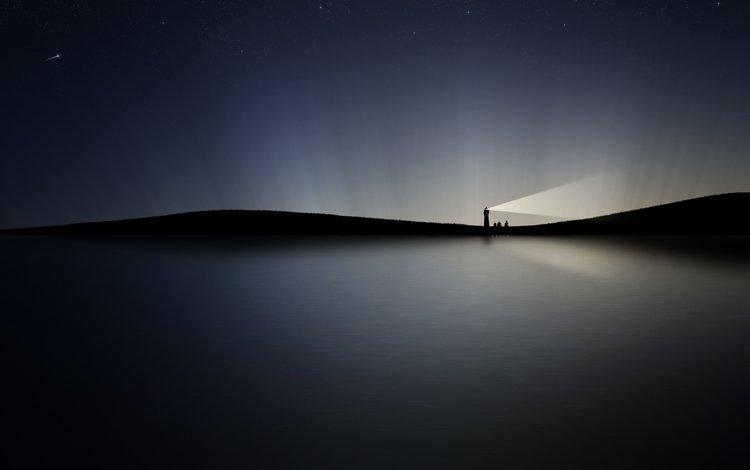 ночь, вода, маяк, сияние, night, water, lighthouse, lights