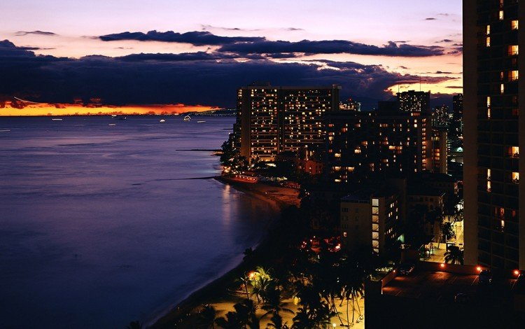 огни, вечер, берег, здания, lights, the evening, shore, building