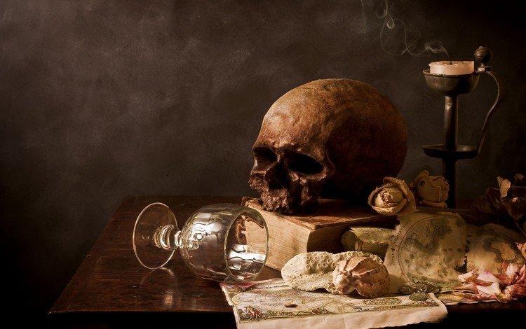 череп, свеча, стакан, skull, candle, glass