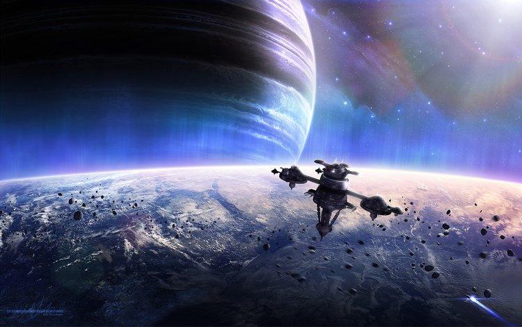 земля, звезды, планеты, космический корабль, planets, космическая, spacecrafts, meteoroids, звезд, earth, stars, planet, spaceship, space