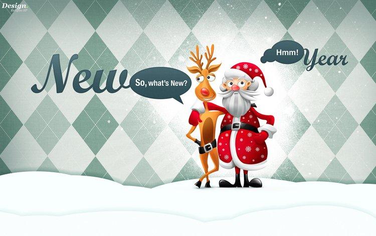 новый год, олень, дед мороз, new year, deer, santa claus