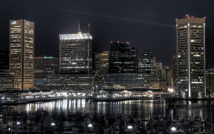 огни, вечер, причал, lights, the evening, pier