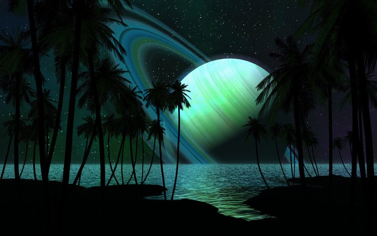 trees, shore, sea, stars, planet, ring