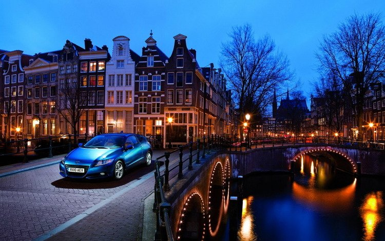 вечер, река, мост, дома, honda-cr-z, the evening, river, bridge, home