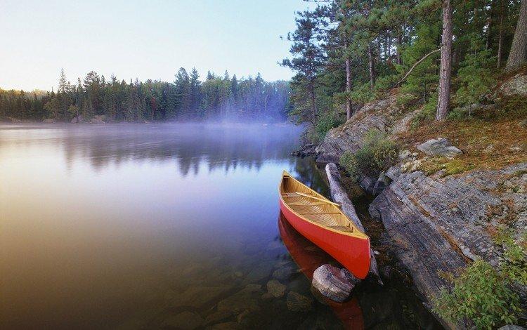 озеро, лес, лодка, каноэ, lake, forest, boat, canoeing