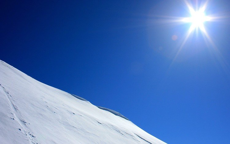 солнце, снег, синий, склон, the sun, snow, blue, slope