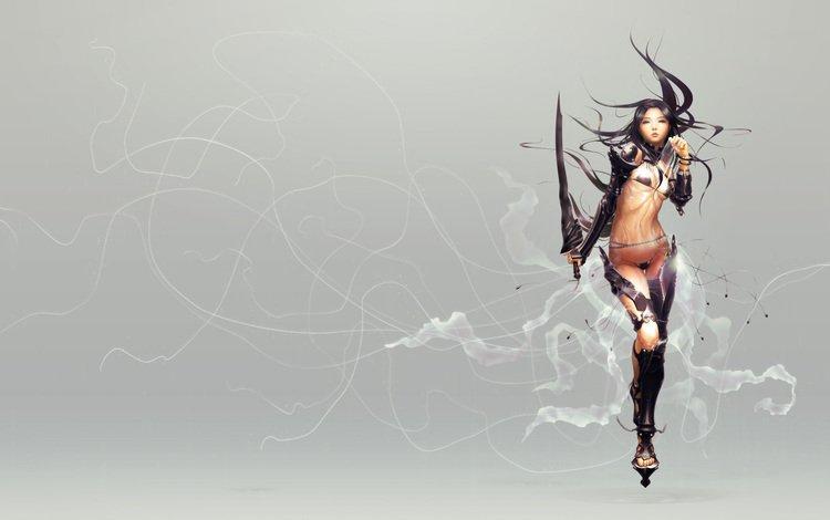 girl, sword, armor