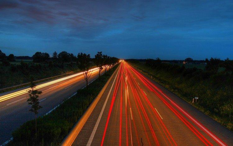 дорога, ночь, огни, road, night, lights