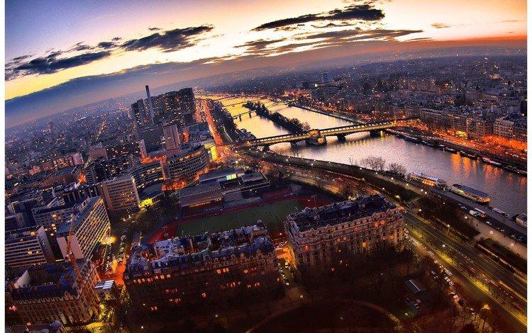 огни, вечер, париж, lights, the evening, paris