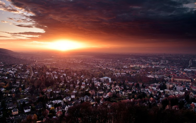 закат, город, германия, конец дня, end of day, sunset, the city, germany, the end of the day