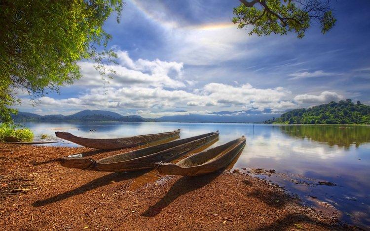лодки, водоем, три, из, стволов, boats, pond, three, from, trunks