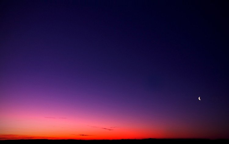 небо, закат, луна, the sky, sunset, the moon