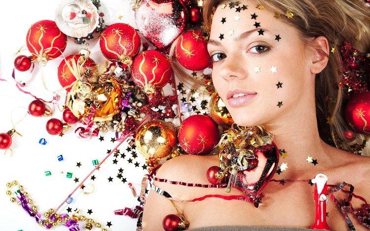 шары, украшения, девушка, звезды, игрушки, balls, decoration, girl, stars, toys