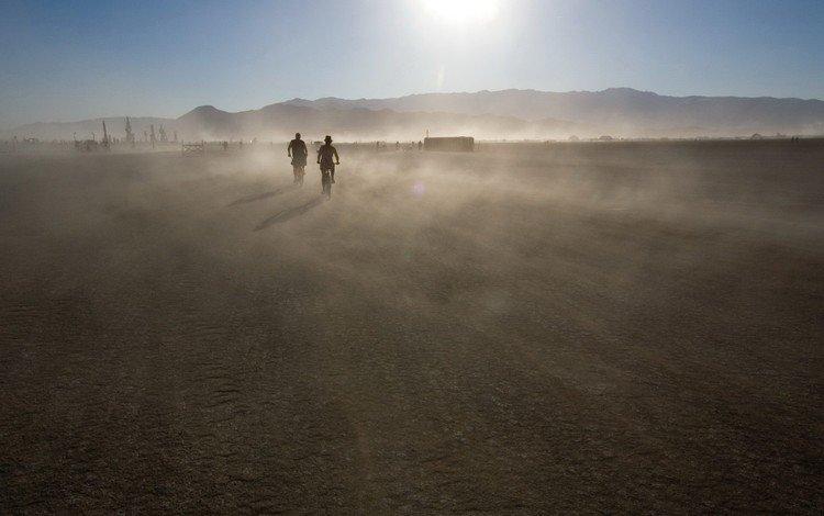 mountains, the sun, movement, dust