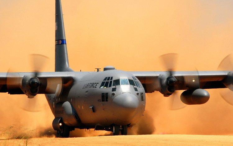 самолет, lockheed c-130 hercules, пыль, посадка, the plane, dust, landing