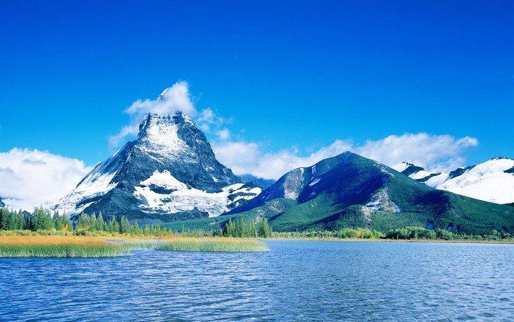 облака, озеро, горы, синий, clouds, lake, mountains, blue