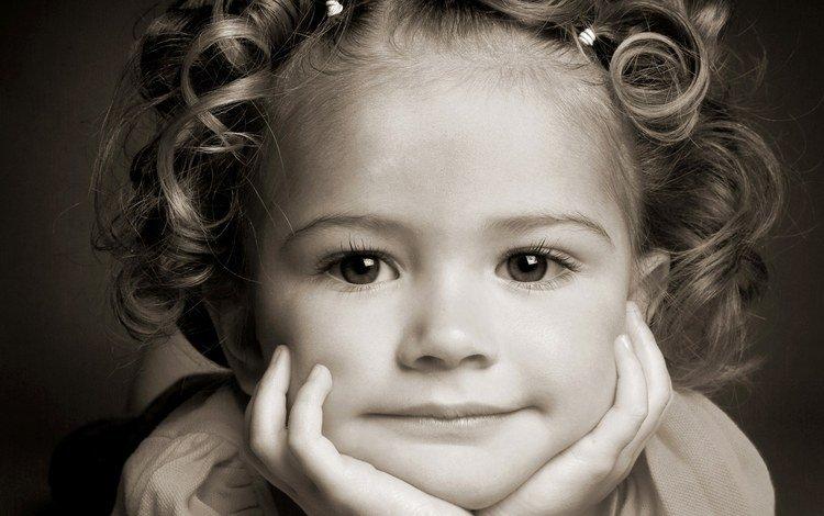 eyes, smile, portrait, girl, hair, face, child