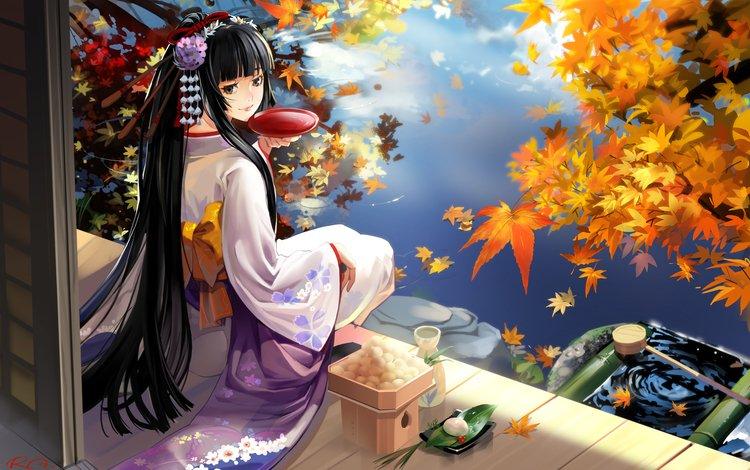 озеро, девушка, осень, гейша, lake, girl, autumn, geisha