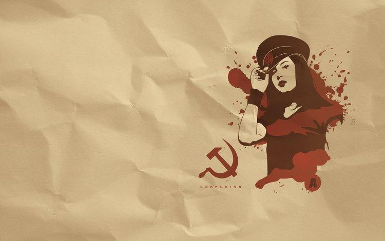 девушка, серп, молот, коммунизм, фуражка, girl, hammer, communism, cap