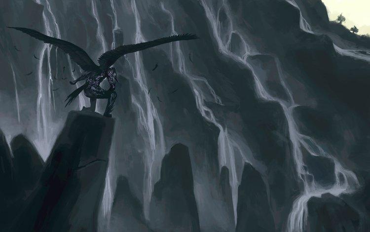 горы, крылья, hiraoka masamune, существо, фантазии, точка обзора, mountains, wings, being, fantasy, viewpoint