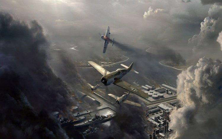 небо, облака, самолет, война, авиаудар, the sky, clouds, the plane, war, airstrike