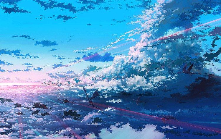 light, clouds, flight, dragons, bright, the flight of dragons
