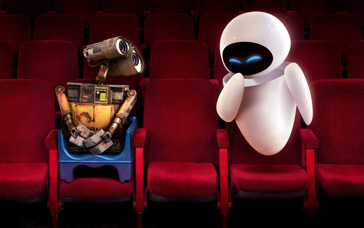 red, chair, eva, cinema, wall-e