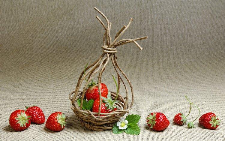 клубника, корзинка, из, веток, strawberry, basket, from, branches