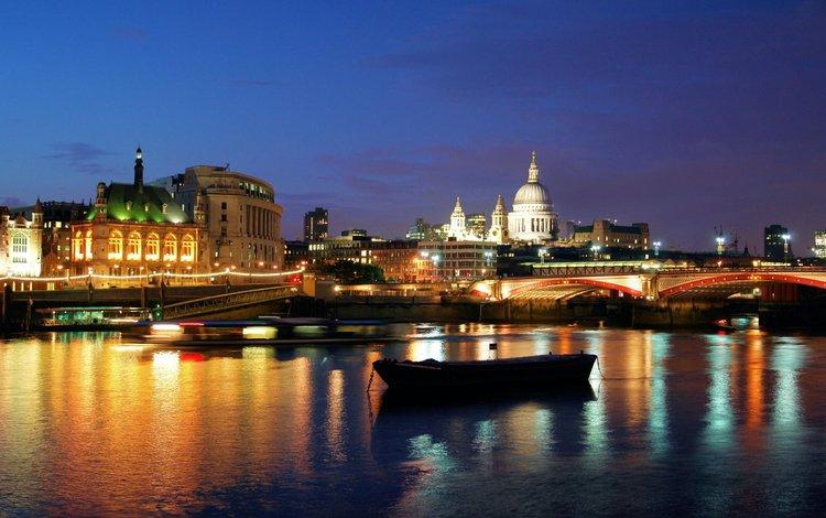 ночь, огни, река, мост, лондон, night, lights, river, bridge, london