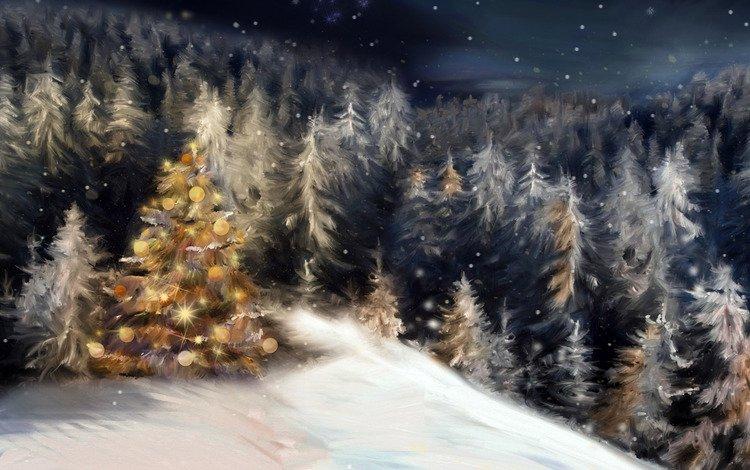 ночь, снег, новый год, елка, лес, зима, елки, праздник, рождество, christmas, night, snow, new year, tree, forest, winter, holiday