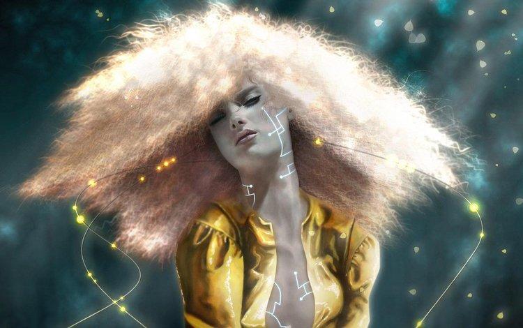рисунок, девушка, волосы, figure, girl, hair