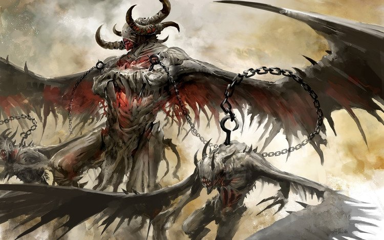 demons, wings, guild wars 2, horns, chain, hook