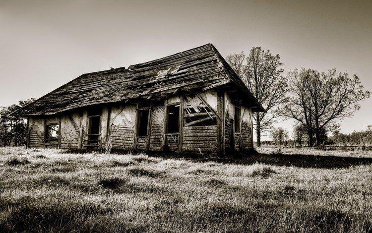 развалины, старина, сепия, дом, the ruins, old, sepia, house