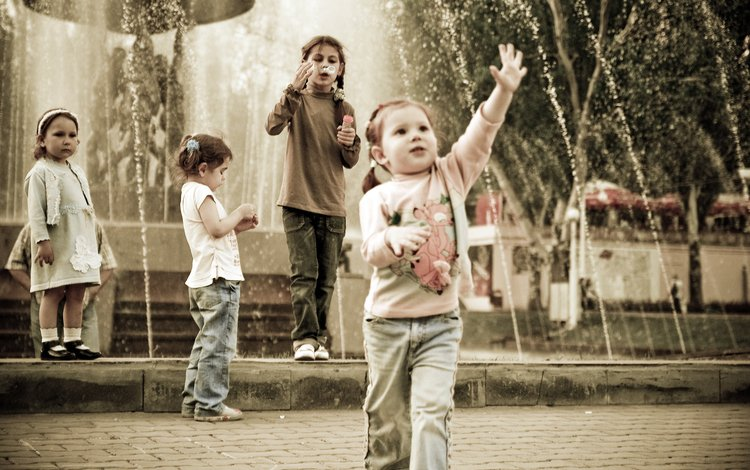парк, дети, фонтан, веселье, park, children, fountain, fun