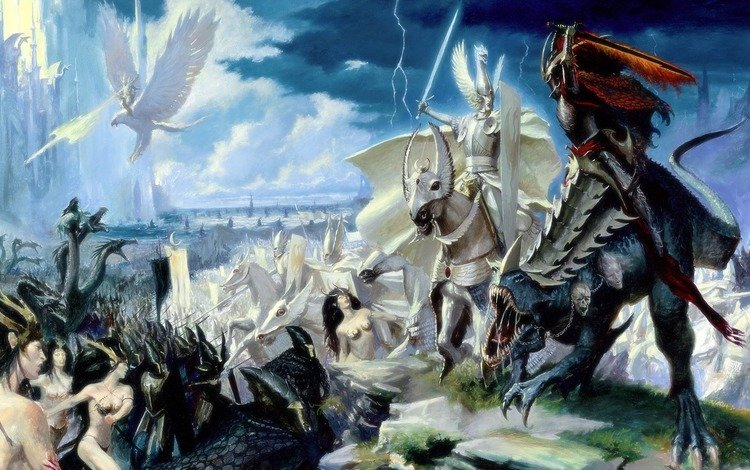 battle, the battle, elves, dark, warhammer, riders