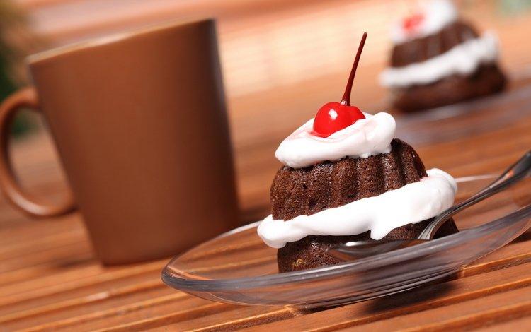 крем для торта, десерт, еда, пироженное, кофе, пирожное, вишенка, сладости, вишня, шоколад, сладкое, сливки, cream cake, dessert, food, cake, coffee, sweets, cherry, chocolate, sweet, cream