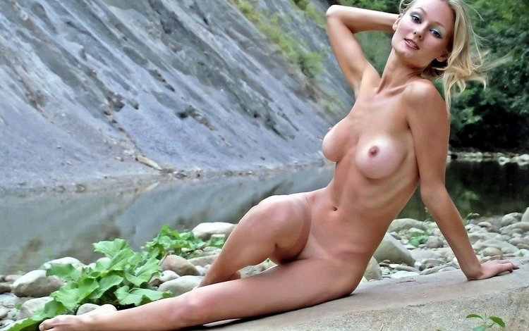 mädchen, blonde, brust, nude, schöne, taille
