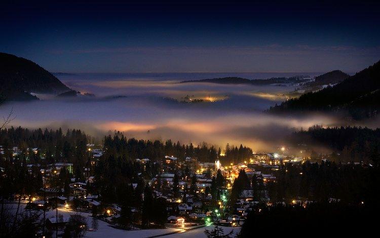 вечер, зима, туман, город, альпы, the evening, winter, fog, the city, alps