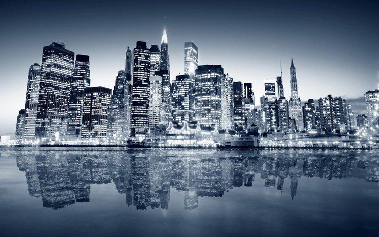 ночь, вода, небоскребы, night, water, skyscrapers