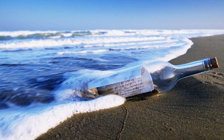 shore, sea, beach, message, bottle