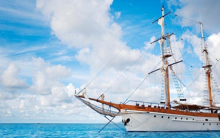 небо, облака, море, корабль, яхта, паруса, the sky, clouds, sea, ship, yacht, sails