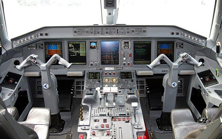 самолет, кабина, монитор, панель, штурвал, the plane, cabin, monitor, panel, the wheel