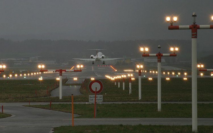 the plane, runway