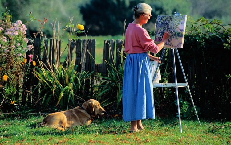 figure, grass, dog, stay, woman, drawing, canvas, elderly