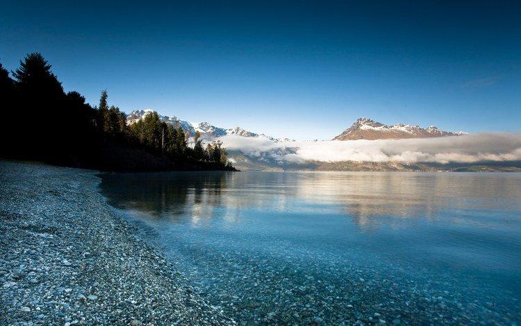 lake, mountains, fishing