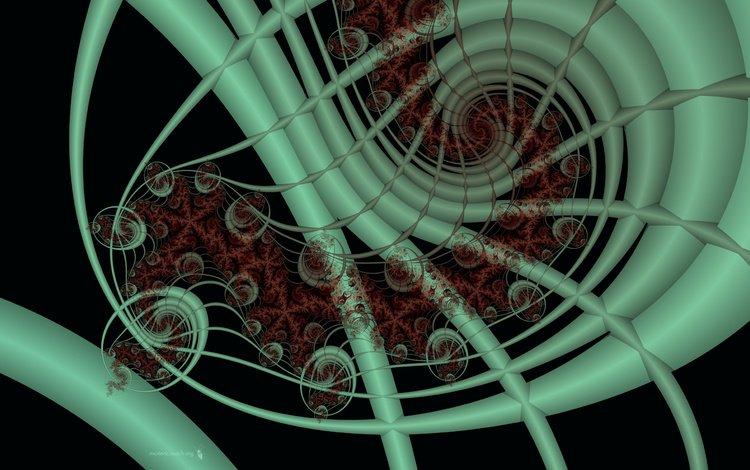 абстракция, зелёный, красный, фрактал, abstraction, green, red, fractal